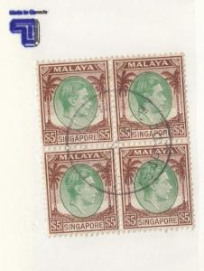 MALAYA SINGAPORE # 20 SUPERB BLOCK OF 4 SON KGV1 $5 ISSUES CAT VALUE $36+