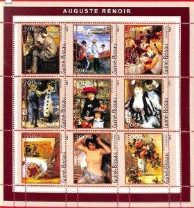 A0855 - GUINEA-BISSAU - ERROR  MISSPERF SHEET - ART Painters: Renoir  2001