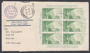 USA 1935 cover to New Zealand : Yosemite imperf mini sheet ex Vancouver WA..J874