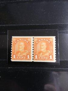 Canada #178 Mint Pair NH F-VF 1930 1c Orange Coil Pair -  Centered Top andBottom