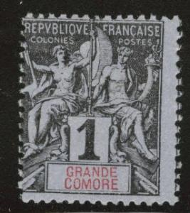 Grand Comoro Island Scott 1 MH* from 18971907 set