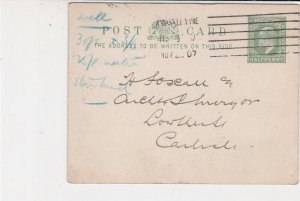 England 1907 N'castle Tyne Cancel Re Building Work Stamp Card Ref 34898