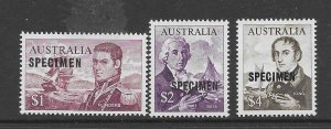 Australia 377-79  1965  3 values OP  specimen VF   NH