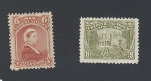 2x Newfoundland Mint Stamps; ##35-6c VF & #94-9c F/VF Guide Value = $130.00