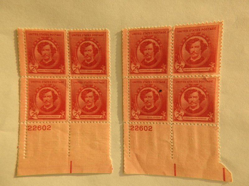 U. S. #885 MINT two blocks w/ same sheet number/mark on 1 stamp