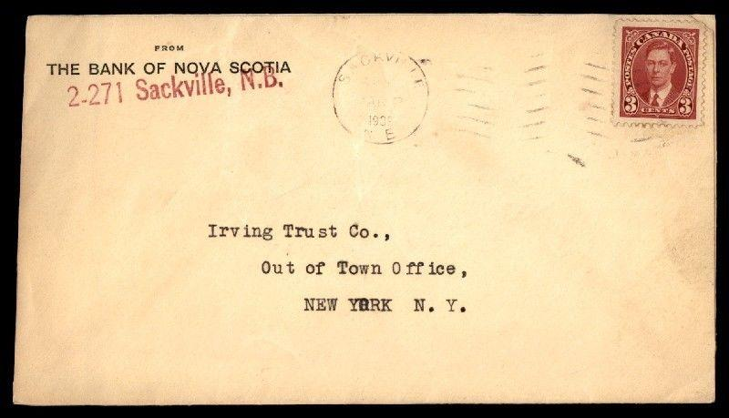 The bank of Nova Scotia commercial airmail cover to New York City from Canada