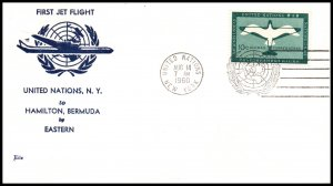 UN New York to Hamilton,Bermuda Eastern Airlines 1960 First Jet Flight Cover