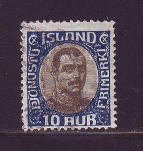 Iceland Sc O43 1920 10a Christian X Official stamp used