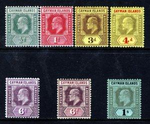 CAYMAN ISLANDS KE VII 1907-09 Wmk Mult Crown CA Part Set SG 25 to SG 31 MINT