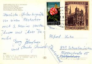 San Marino 5L Peony and Mt. Titano and 20L Amiens Cathedral 1968 Repubblica D...