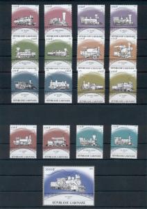 Trains Locomotives Railroads Transport Gabon 17 MNH stamps set