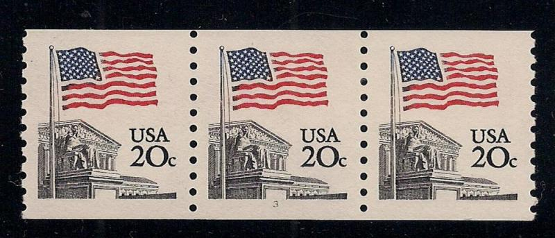 #1895 Coil Stamps - Strip of 3 - Plate#3 - O.G. - N.H.