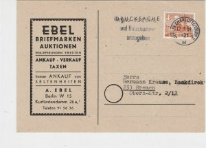 Berlin 1954 Charlottenburg Cancel Stamps Auction Stamps Card Ref 26089