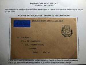 1932 Ireland Free State First Flight Airmail Cover FFC To Durban South Africa