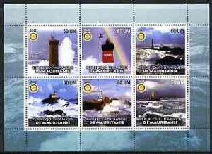 Mauritania 2002 Lighthouses #2 perf sheetlet containing s...