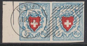 SWITZERLAND  An old forgery of a classic stamp - pair.......................B206