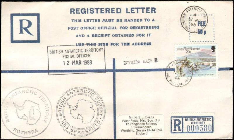 1988 BRITISH ANTARCTIC TERRITORY ROTHEA REGISTERED LETTER + STAMP