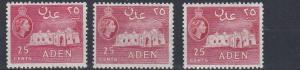 ADEN    1953 - 63    S G  54 + 55 + 55A      3 X 25C VALUES     MH