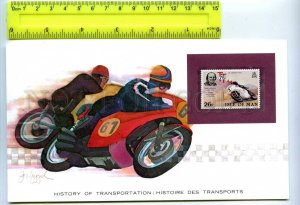 255172 ISLE of MAN motorcycles card w/ mint stamp