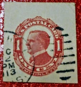 USA UX24 1c William McKinley, Red on Cream, Used Postal used cut square