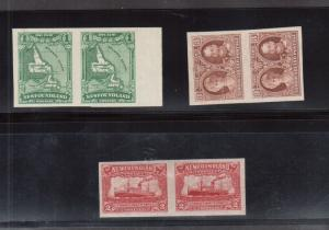 Newfoundland #163c - #165a Extra Fine Mint Imperf Pair Trio Unused (No Gum)