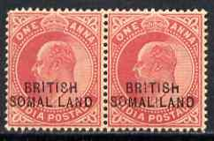 Somaliland 1903 KE7 opt at bottom on 1a horiz pair, one w...