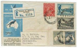 AUSTRALIA - ENGLAND 1934 REGISTERED AIRMAIL COVER FRANKED KANGAROO + VICTORIA