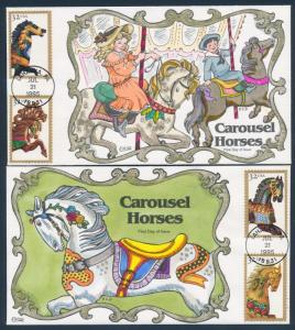 #2976-2979 (4) DIFF FDC H.P. CACHETS BY COLLINS CAROUSEL HORSES BU3088