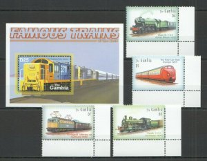 QF0264 GAMBIA TRANSPORT FAMOUS TRAINS OF THE WORLD BL+SET FIX