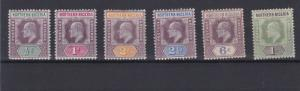 NORTHERN NIGERIA 1902  S G 10 - 16  VARIOUS VALUES TO 1/-  MH & UNUSED