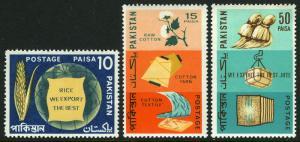 Pakistan 240-242, MNH. Major export products. Rice, Cotton, Jute, Cloth, 1967