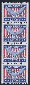 American Stamp Red, White & Blue Eagle Cinderella Savings/Trading ?? Strip 4