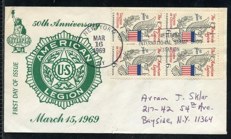 UNITED STATES 1969 AMERICAN LEGION CACHET FOR THE US VETERANS FIRST DAY COVER