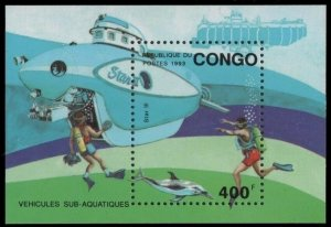 1993 Congo Brazzaville 1376/B112 Research submarines 8,00 €