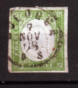 J21192 Jlstamps 1855-63 italy sardinia used #10 king