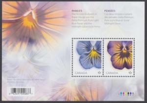 Canada - #2809 PANSIES Souvenir Sheet (Flowers) - MNH