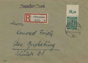 Germany 84pf Numeral 1948 Ludenscheid Registered to Buckeburg.  EUROPEAN SIZE