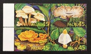 Palau 1989 #211a Block of 4, Exotic Mushrooms, MNH.