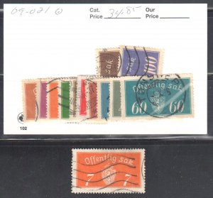 Norway #O9 to O 21, O11a All Used