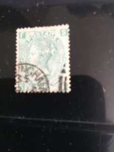 GB SC.#54 Pl. 4 Used Cat. $40. 1867 1sh Plate 4 F Nice Birmingham CDS On Corner