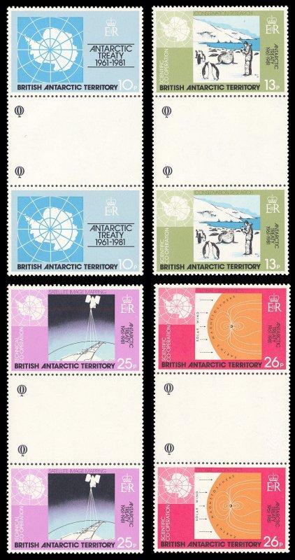 British Antarctic Territory 1981 Scott #82-85 Gutter Pairs Mint Never Hinged