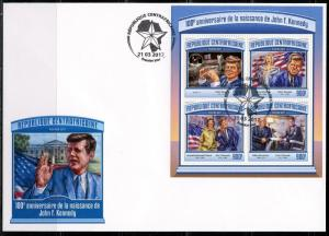CENTRAL AFRICA 2017 100th BIRTH ANNIVERSARY  OF JOHN F. KENNEDY SHEET FDC
