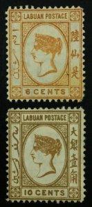 MOMEN: LABUAN SG #6,8 1880-2 CROWN CC MINT OG H £340 LOT #61910