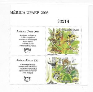 Colombia 2003 UPAEP Flora and Fauna Sc 1214 pair MNH C1
