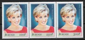 1999 Burundi 756a-c Diana. Princess of Wales MNH strip of 3