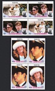 Nevis Royal Wedding Prince Andrew 4v Cross-Blocks SG#406-409 SC#498-499