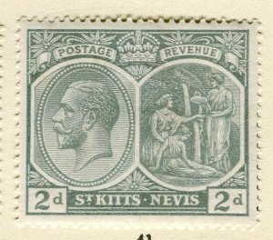 ST. KITTS; 1921-29 early GV portrait issue Mint hinged 2d. value