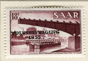 SAARLAND; 1955 early Referendum Fund issue fine Mint hinged 18f. value