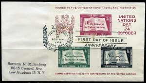 UNITED NATIONS SCOTT#38 SOUVENIR SHEETS ON ADDRESSED FIRST DAY COVER