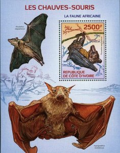 Bats Stamp Pipistrellus Tenupinnis Wild Animal S/S MNH #1573 / Bl.201